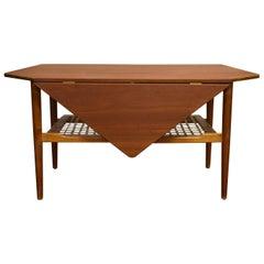 Danish Mid-Century Teak Drop-Leaf Coffee Table with Magazine Rack