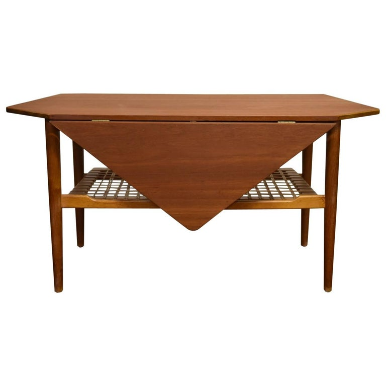 Danish Mid Century Teak Drop Leaf Coffee Table With Magazine Rack For Sale At 1stdibs