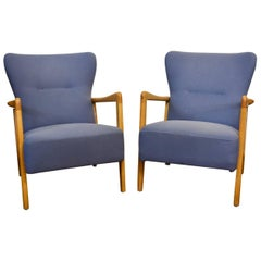 Pair of Fritz Hansen, Søren Hansen Wingback Lounge Chairs