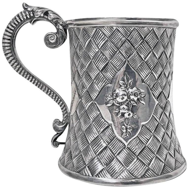 Antique Silver Mug, London 1863 by Robert Harper For Sale