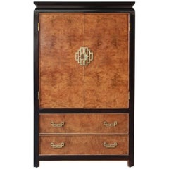 Century Furniture Burl Wood and Black Lacquer Chin Hua Chinoiserie Chest