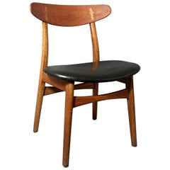 Hans J Wegner CH30 Side Chair, Teak and Leather, Denmark, 1950s