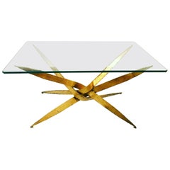 Striking Brutal Dining Table Torch Cut Steel in Gold Leaf Finish