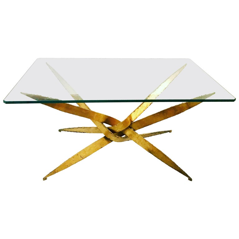 Striking Brutal Dining Table Torch Cut Steel in Gold Leaf Finish For Sale