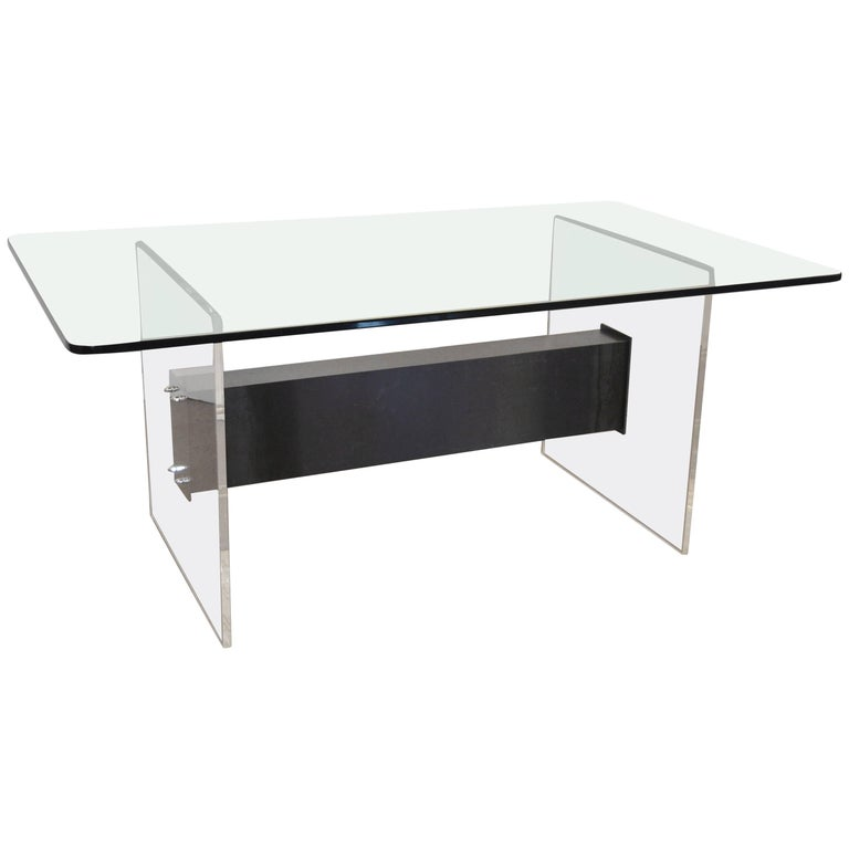 Lucite, Glass and Steel Dining Table or Desk