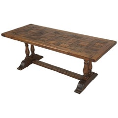 Antique French Trestle Style Dining Table Made from French White Oak, circa 1900