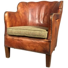 1940s Danish Sculpted Back Leather Club Chair, Harris Tweed Seat