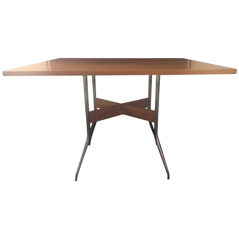 "Rare George Nelson Square ""Swag Leg"" Dining Table for Herman Miller, 1950 1"