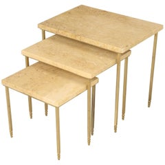 Mid-Century Modern Stone and Brass Stacking or Nesting Tables, Set of Three