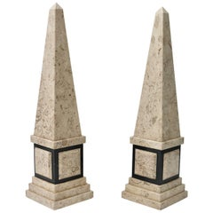 Pair of Marble Obelisk in Tan and Black