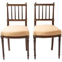 Pair of Gold Trimmed Neoclassical Opera Chairs