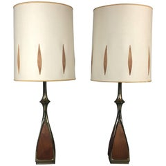 Pair of 1960s Laurel Lamps, Walnut and Brass, Original Shades, USA