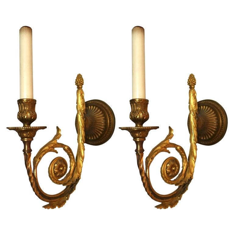 Pair of Louis XVI Style Single Arm, Bronze Doré Wall Sconces