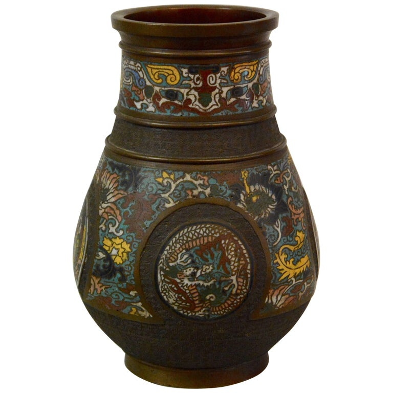Japanese Edo Period Bronze and Cloissonne Vase