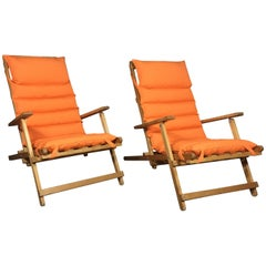 Pair of Børge Mogensen Deck Chairs with Sunbrella Covers, Denmark, 1966