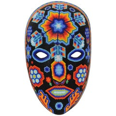 Mexican Huichol Sacred Star Man Hand Beaded Tribal Mask
