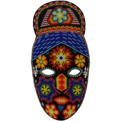 Mexican Huichol Hand Beaded Folk Art Mask