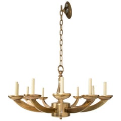 Italian Mid-Century Modern Brass Twelve-Light Chandelier