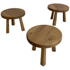 Solid Oak Side Tables in Style of Charlotte Perriand, France, 1960s