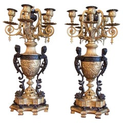 Pair of 19th Century French Neoclassical Patinated & Bronze Doré Urn Candelabras