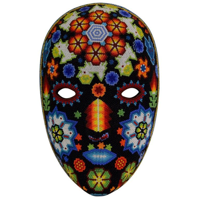 Mexican Huichol Hand Beaded Folk Art Mask Peyote Blossom 1