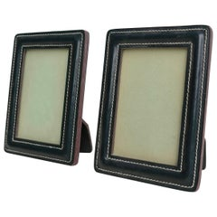 Hand-Stitched Green Leather Picture Frames in Style of Jacques Adnet