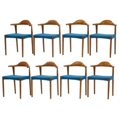 Set of Eight Teak and Rosewood Danish Modern Dining Chairs