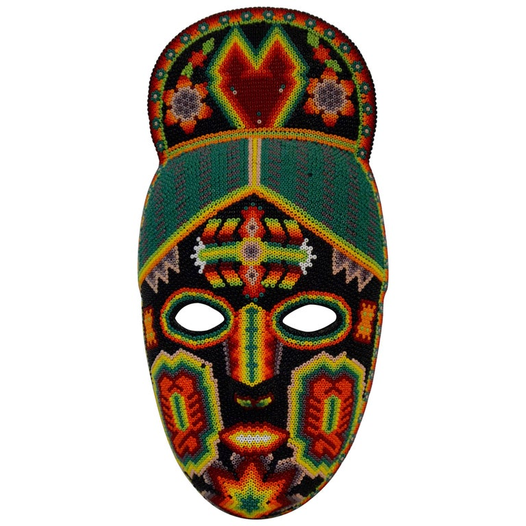 Mexican Huichol Hand Beaded Folk Art Mask