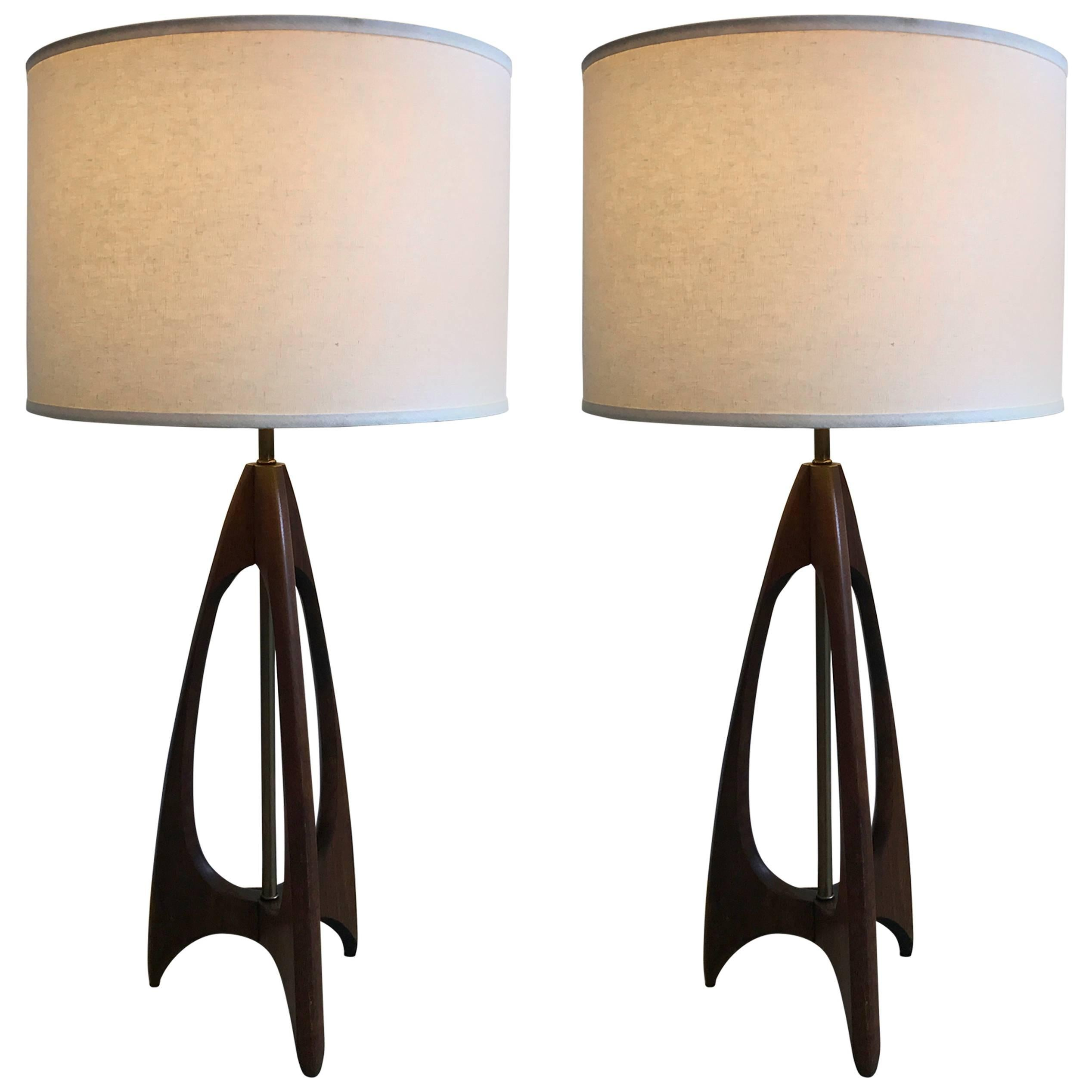 Pair Of Teak And Brass Tripod Table Lamps, Mid Century Modern, Denmark,