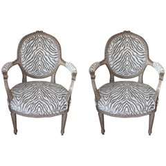 Pair of Louis XVI Style Painted Armchairs, Original Patina and Newly Upholstered