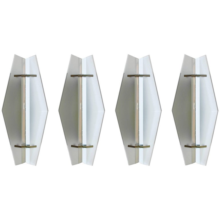 Set of Four Italian Sconces by Max Ingrand for Fontana Arte