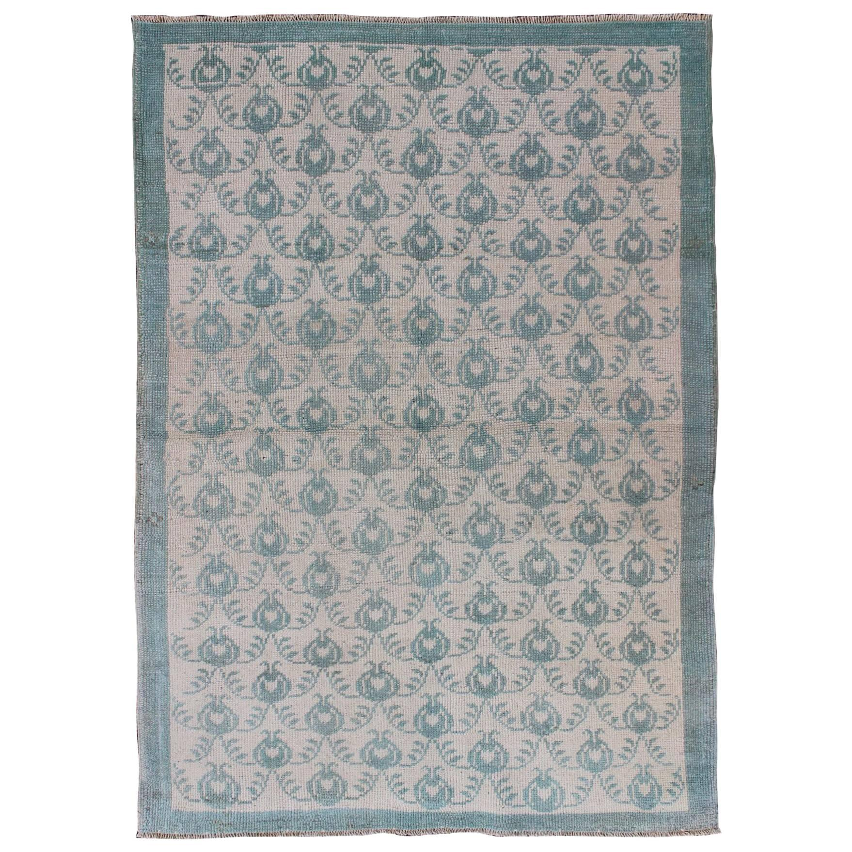 All Over Design Vintage Turkish Oushak Rug In Hunter Green And