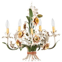 Italian Tôle Chandelier with Flowers, 1920s