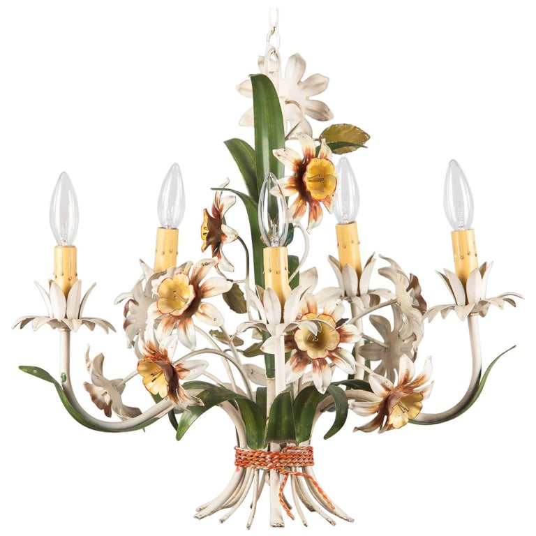 Italian Tôle Chandelier with Flowers, 1920s