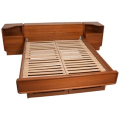 Danish Modern Teak Platform Bed Queen-Size with Nightstands