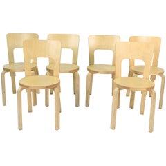 Set of Six Alvar Aalto for Artek High Back Chairs Model 66