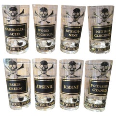 Whimsical Set Eight Georges Briard Name Your Poison Glasses