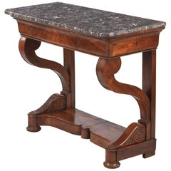 French Restoration Period Mahogany Console Table with Marble Top, 1820s