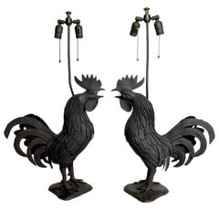 Pair of Metal Rooster Lamps in the Brutalist Style