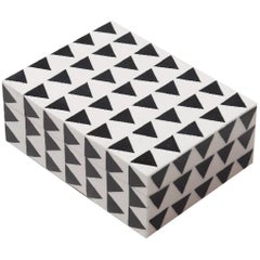 Thea Black and White Triangle Bone Inlay Decorative Box