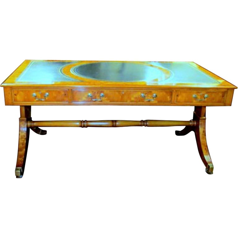 English Bench Made Inlaid Yew Wood Partner's Bureau Plat Writing Table