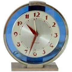 Blue Mirror with Chrome Art Deco Clock