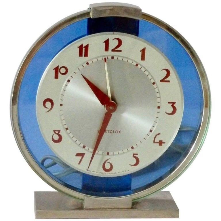 Blue Mirror with Chrome Art Deco Clock For Sale