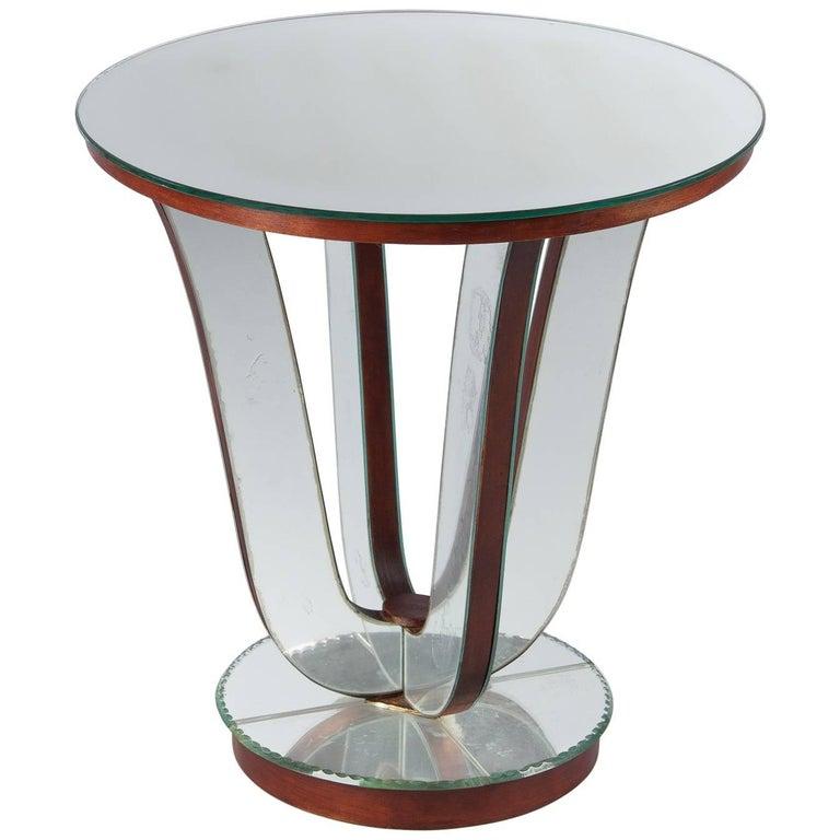 Mid-Century Mirrored Venetian Glass Side Table, 1950s