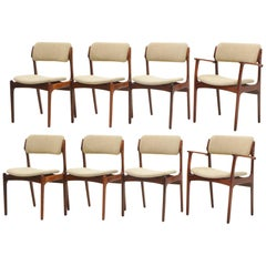 Set of Eight Rosewood Danish Modern Dining Chairs Designed by Erik Buch