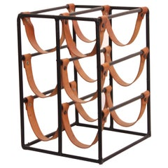 Arthur Umanoff Iron and Leather Wine Rack