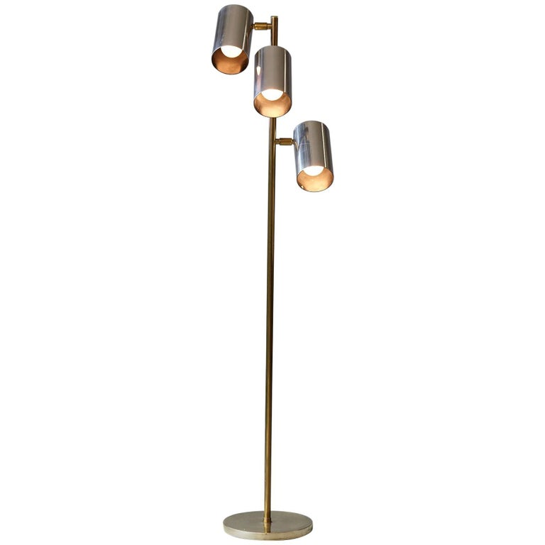 Mid-Century Floor Lamp with Brass Base and Three Adjustable Cylindrical Shades