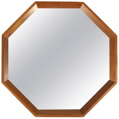 Modernist Danish Teak Octagon Mirror by M.M. Spejle