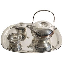 Modernist Sculptural Vivianna Torun for Dansk Silver Plate Tea Set with Tray