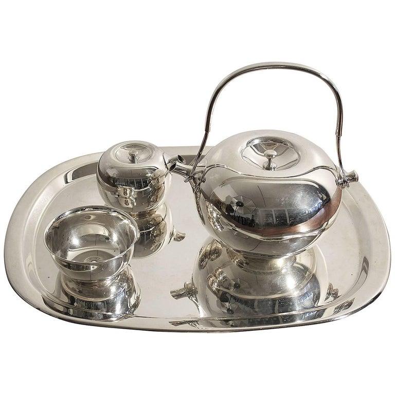 Modernist Sculptural Vivianna Torun for Dansk Silver Plate Tea Set with Tray For Sale